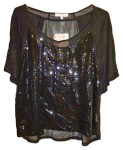 Love, Fire Sequined Chiffon Top black