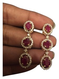 18k gold natural diamond real ruby earrings bridal oscar certified