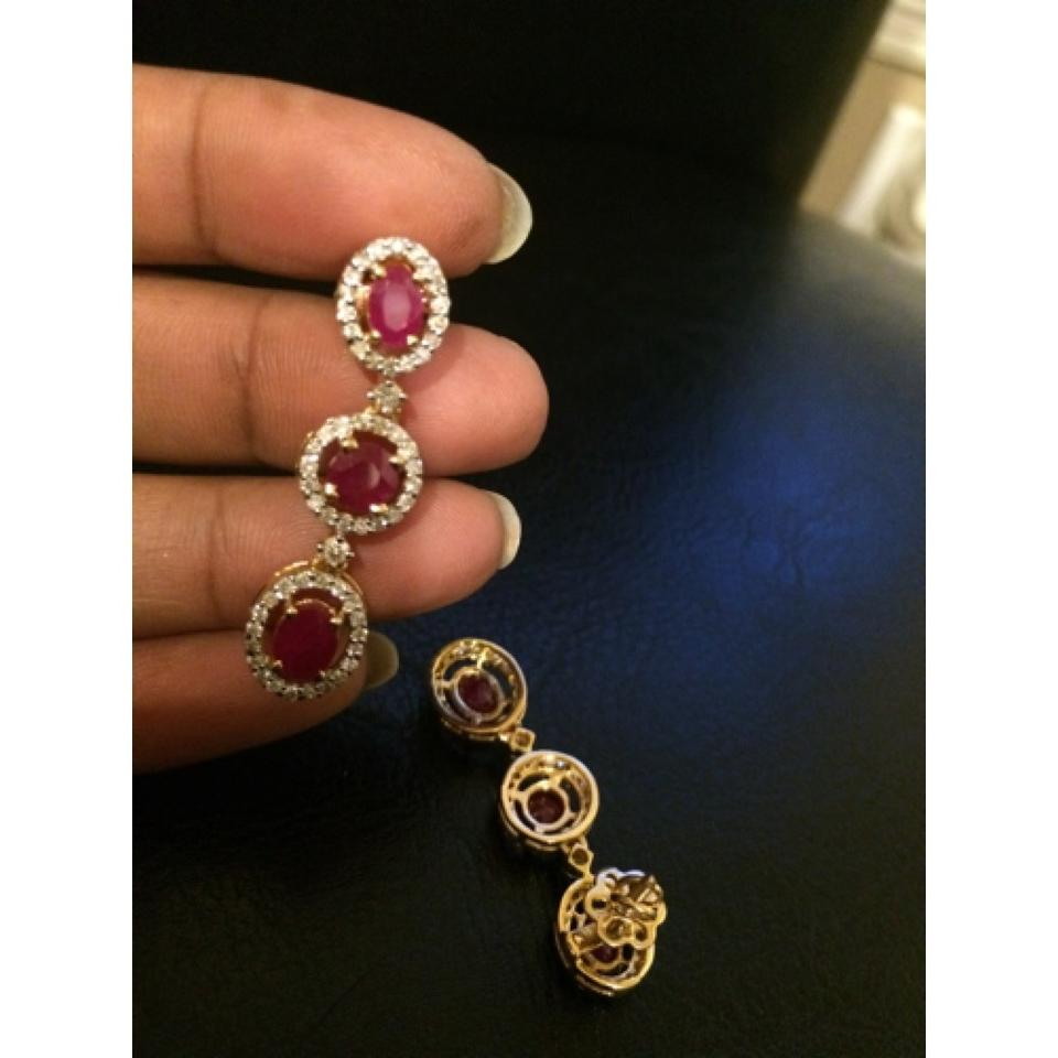 18k Gold Natural Diamond Real Ruby Earrings Bridal Oscar Certified Jewelry  58 Off 12949912