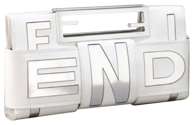 Item - White and Silver Patent Leather Clutch