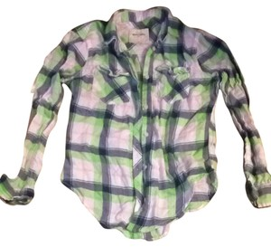 Abercrombie Kids Button Down Shirt Green And Blue