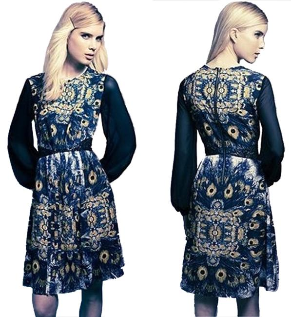 Item - Peacock Feather Print Above Knee Work/Office Dress Size 12 (L)