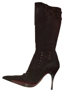 Cesare Paciotti Brown suede with brass detail chains Boots