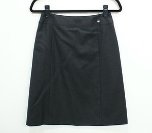 Chanel 01a Charcoal Wool Skirt Gray