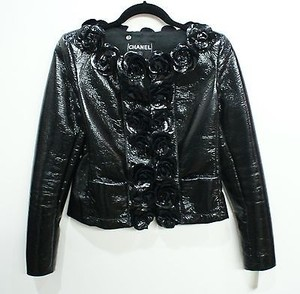Chanel Patent Faux Leather Black Jacket