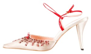 Prada Satin Embellished Gray and Red Sandals