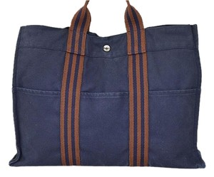 Hermès Tote in Brown/ Navy
