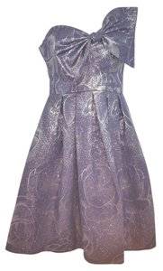 Rebecca Taylor Strapless Jacquard Metallic Dress