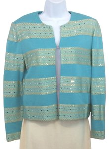 St. John Evening Aqua Knit Cocktail Jacket 4 Blazer