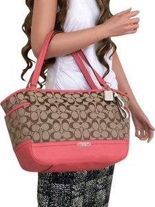 Coach Signature Khaki Brown Coral Handbag Tote in CORAL/ TEAROSE