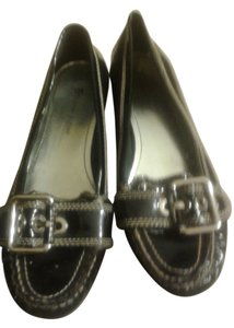 Etienne Aigner Leather Black & White pin striped Flats