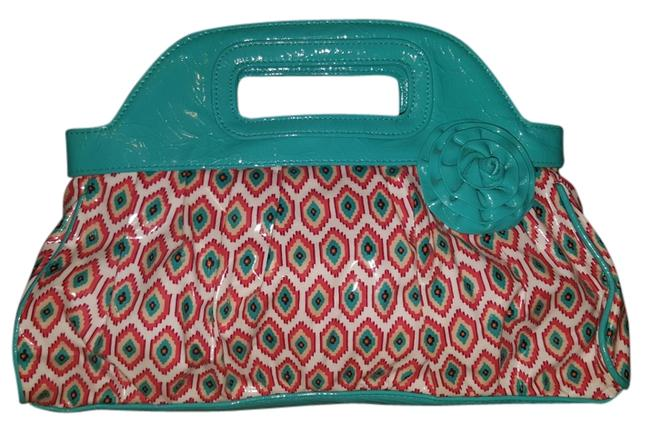 Item - Call Me Multi Coral Turquoise Blue Cotton Clutch