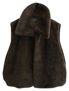 United Colors of Benetton Italian Faux Fur Layering Designer 70's Vest
