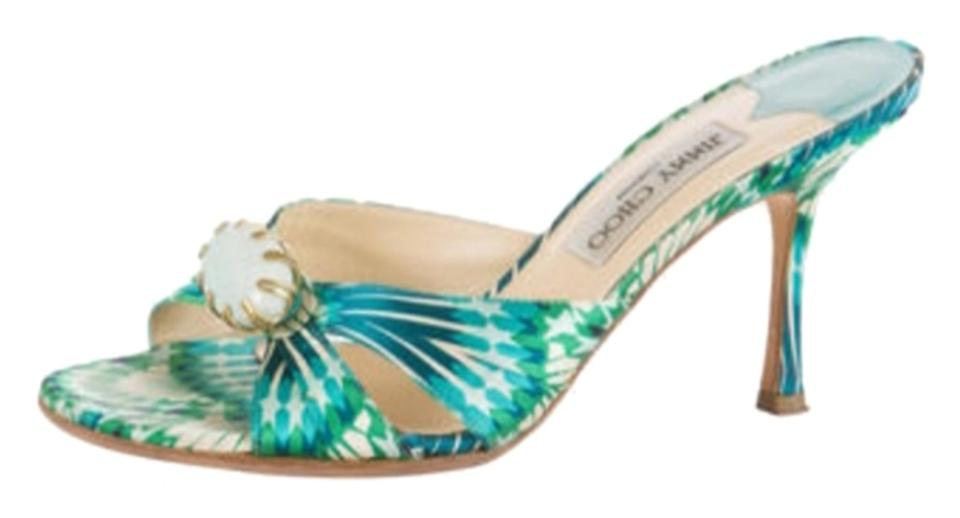 Jimmy White Choo Green Blue and White Jimmy Strappy Sandals 51d403