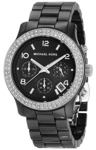 Michael Kors 100% New Authentic Michael Kors Women's Chronograph Runway Stainless Steel and Black Ceramic Bracelet Watch 38mm MK5190