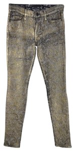 7 For All Mankind Skinny Pants Gold