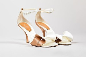 Chanel White And Rose Gold Pink Sandals