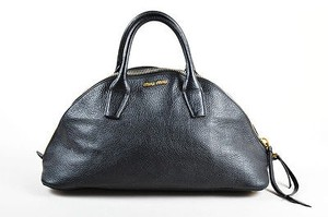 Miu Miu Pebbled Leather Satchel in Black