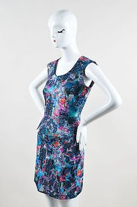 ERDEM Blue Pink Cotton Blend Watercolor Print Sl Sheath Dress