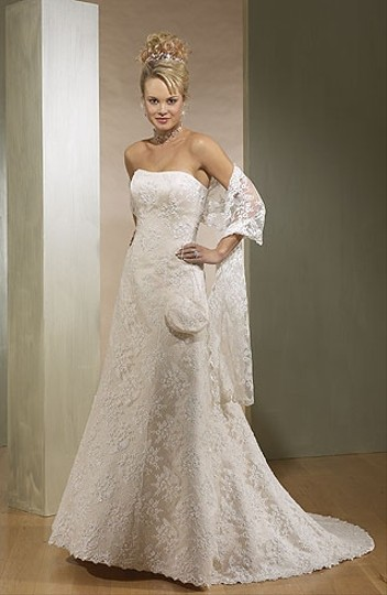 Maggie Sottero Ivory with Lace Over Champagne Color Satin Grace Vintage Wedding Dress Size 8 (M)