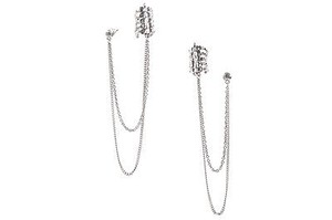 Sterling Silver Hanging Chain Link Spine Ear Cuffs