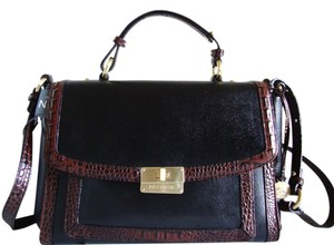 Brahmin Croc/smooth Leather Black And Brown Medium Size & Cross-body Oxford Satchel in Black Tuscan