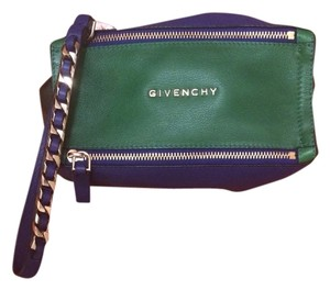 Givenchy Luxury Leather Color-blocking Travel Pouch Wristlet in Blue , Green & Black