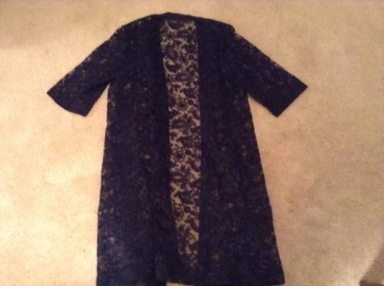 Navy Hand Made Lace Dress Size 12 (L)