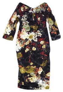 Just Cavalli Dark Brown Floral Print Bodycon Dress