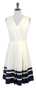Akris Punto short dress Sleeveless White Navy on Tradesy