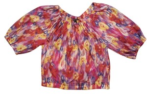 Banana Republic Puff Peasant Spring Top pink, yellow, and blue ikat