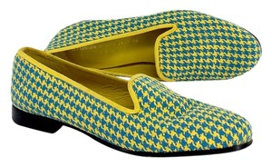 Stubbs & Wootton Yellow Blue Houndstooth Slippers Flats