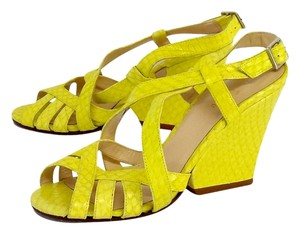 Kate Spade Lime Yellow Snakeskin Leather Wedges