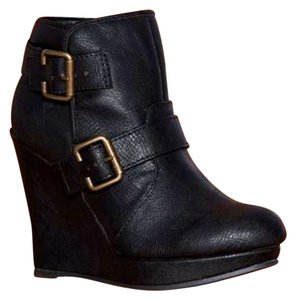 Qupid Faux Leather Wedge Bootie Black Boots