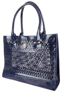 Tory Burch Blue Patent Patent Leather Navy Slate Blue Perforated Embellished Textured New Gold Gold Hardware Large Reva Logo Tote in Blue, Navy