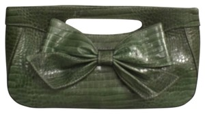 Isabella Fiore Leather Embossed Leather Purse Handbag Green Clutch