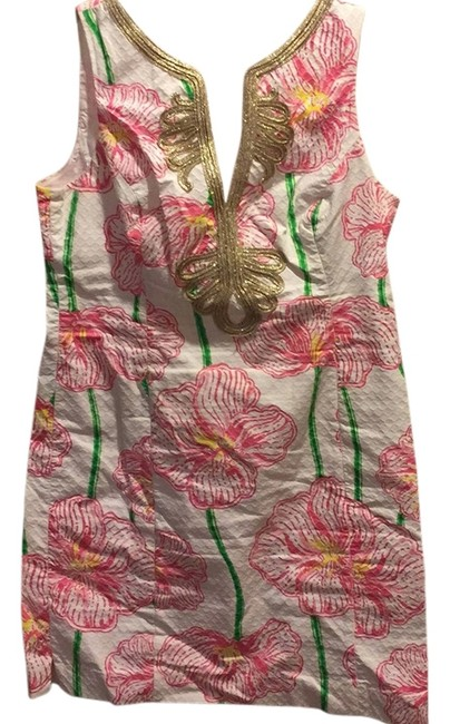 Lilly Pulitzer White With Pink And Green Print Janice Dress - 69% Off Retail durable service