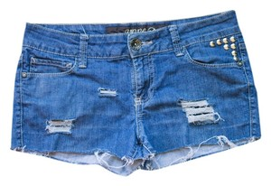 Grane Studded Destroyed Denim Cut Off Shorts Blue Denim