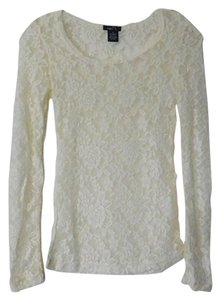 Rue 21 Sheer Lace Stretchy Top Ivory
