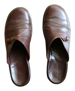 Clarks Leather Slip On Loafers Wedge 9m Brown Mules