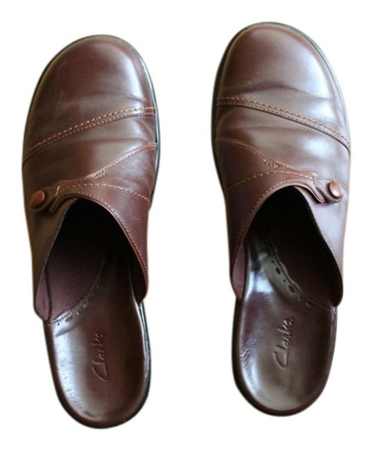 Item - Brown Leather Slip On Loafers Wedge 9m Mules/Slides Size US 9.5 Regular (M, B)