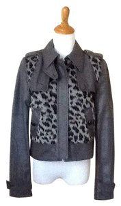 BCBG Max Azria Leather Leopard Faux Fur Motorcycle Jacket