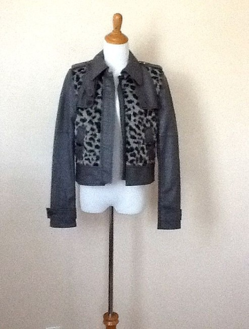 BCBG Max Azria Leather Faux Fur Motorcycle Jacket