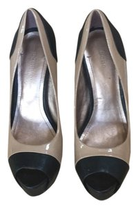 BCBGeneration Warm Nude and Black Platforms