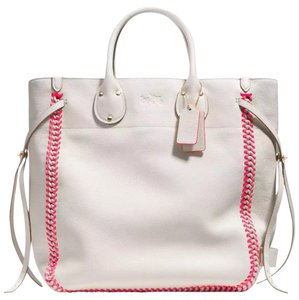 Coach Tatum Pink White Leather Tote in Chalk/Pink