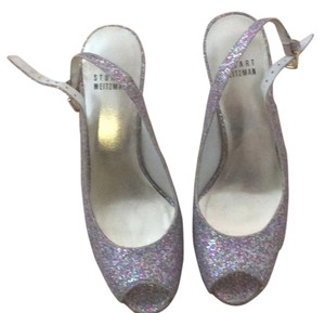 Stuart Weitzman Silver/ Gold With multi color design Platforms