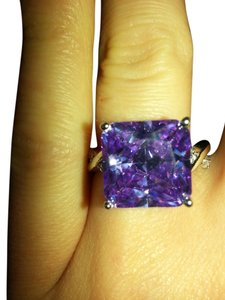 9.2.5 Gorgeous purple tourmaline and white sapphire cocktail ring size 7.5