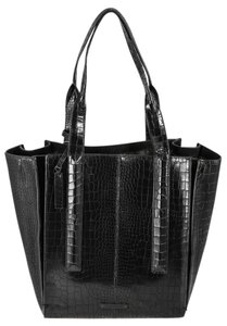 Vince Camuto Crocodile Print Synthetic Double Handle Tote in Black