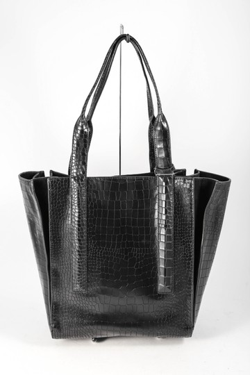 Vince Camuto Crocodile Print Synthetic Double Handle Tote in Black Image 3