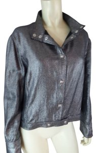 Versace Metallic Metallic Short Waisted Unlined Snap Front Silver Black Stand Up Collar Jacket